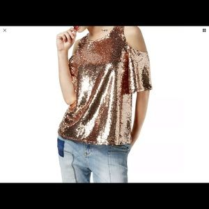 INC Women's Pink Sequined Cold Shoulder Blouse